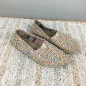 Toms Metallic and Tweed Woven Tan Flats